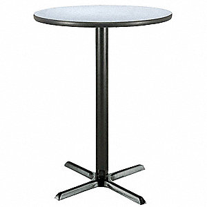 "Round Bar-Height Pedestal Table, Gray Nebula Laminate Top, Dia. 42"", Height 41-1/2"""