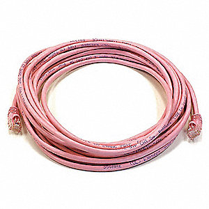 Pink Ethernet Cable, Connector Type: RJ45 - 8P8C, Boot Type:  Booted, 20 ft. Length