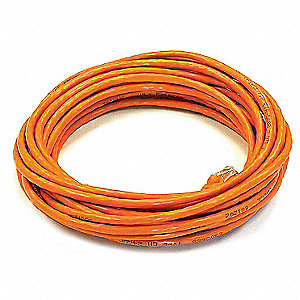 Orange Ethernet Cable, Connector Type: RJ45 - 8P8C, Boot Type:  Booted, 25 ft. Length