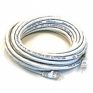 30 ft. Booted 5e Voice and Data Patch Cord, White