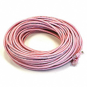 Ethernet Cable,Cat 5e,Pink,75 ft.