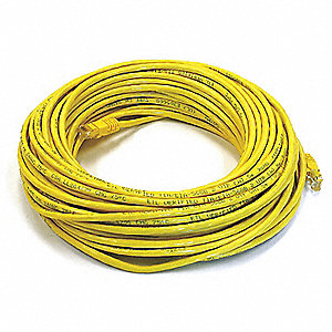 Yellow Ethernet Cable, Connector Type: RJ45 - 8P8C, Boot Type:  Booted, 75 ft. Length