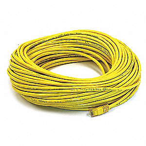 Yellow Ethernet Cable, Connector Type: RJ45 - 8P8C, Boot Type:  Booted, 100 ft. Length