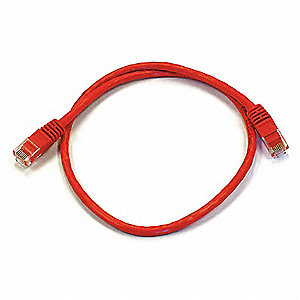 Ethernet Cable,Cat 6,Red,2 ft.