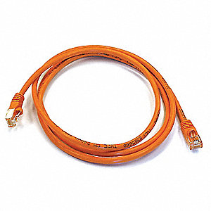 Orange Ethernet Cable, Connector Type: RJ45 - 8P8C, Boot Type:  Booted, 5 ft. Length