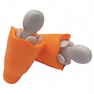 25dB Tapered Shape Ear Plugs&#x3b; Without Cord, Orange, Universal