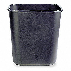 Wastebasket,Rectangular,7 gal.,Black
