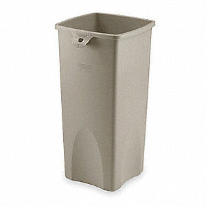 Trash Can,Square,23 gal.,Beige