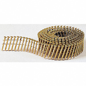 "Siding Nails, 2-1/2"" Length, Steel, Coated, Coil, PK 3600"