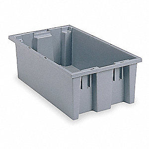"Stack and Nest Container, Gray, 8""H x 19-1/2""L x 13-1/2""W, 1EA"