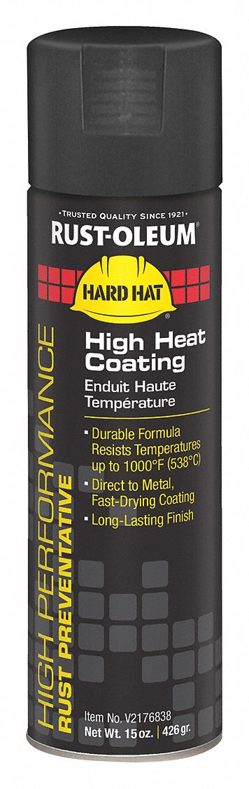 High Performance High Temperature Spray Paint in Flat Black for Metal, Steel, 15 oz