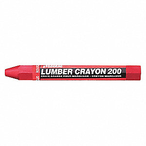 Lumber Crayon, Reds Color Family, Hex Tip Shape, -20°F Min. Temp., 12 PK