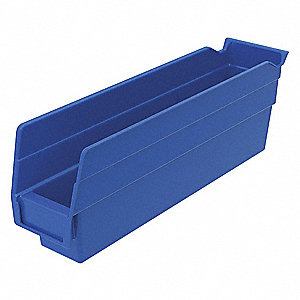 "Shelf Bin, Blue, 4""H x 11-5/8""L x 2-3/4""W, 1EA"