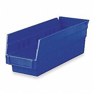"Shelf Bin, Blue, 11-5/8"" Outside Length, 4-1/8"" Outside Width, 4"" Outside Height"