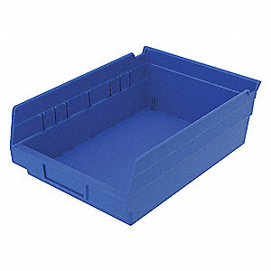 "Shelf Bin, Blue, 4""H x 11-5/8""L x 8-3/8""W, 1EA"