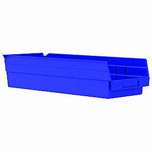 "Shelf Bin, Blue, 17-7/8"" Outside Length, 6-5/8"" Outside Width, 4"" Outside Height"