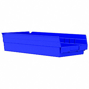 "Shelf Bin, Blue, 17-7/8"" Outside Length, 8-3/8"" Outside Width, 4"" Outside Height"