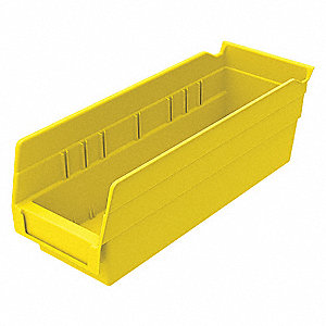 "Shelf Bin, Yellow, 4""H x 11-5/8""L x 4-1/8""W, 1EA"