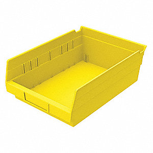 "Shelf Bin, Yellow, 4""H x 11-5/8""L x 8-3/8""W, 1EA"