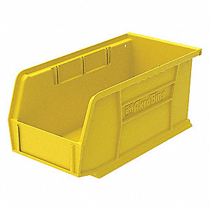 "Hang and Stack Bin, Yellow, 10-7/8"" Outside Length, 5-1/2"" Outside Width, 5"" Outside Height"