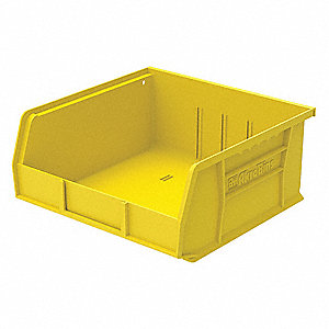 "Hang and Stack Bin, Yellow, 10-7/8"" Outside Length, 11"" Outside Width, 5"" Outside Height"