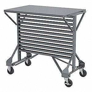 "38-1/2"" x 24"" x 36-1/2"" Mobile Double Sided Pick Rack with 250 lb. Load Capacity, Gray"