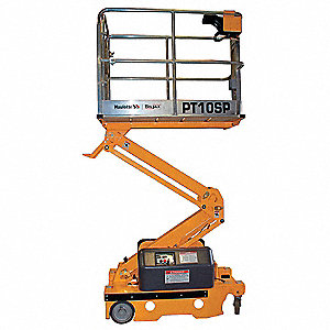 Scissor Lift, Driveable Drive, 16 ft. Max. Work Height, 500 lb. Load Capacity