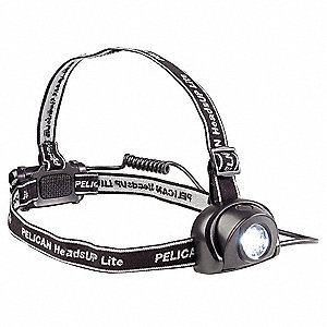 LED Headlamp, Plastic, 100,000 hr. Lamp Life, Maximum Lumens Output: 25, Black