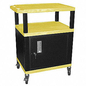 "24""L x 18""W x 34""H Audio-Visual Cart w/Electric, Yellow Shelf Color"