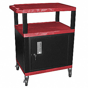"24""L x 18""W x 34""H Audio-Visual Cart, Red Shelf Color"