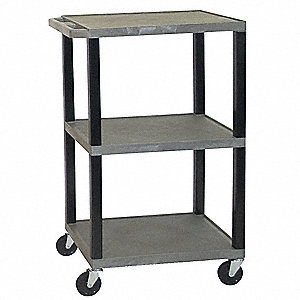 Lipped Thermoplastic Resin Utility Cart, 300 lb. Load Capacity, Number of Shelves: 3