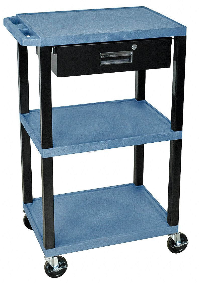 GRAINGER APPROVED Thermoplastic Resin Flat Handle Utility Cart, 300 ...