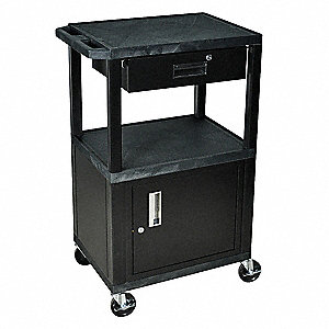 Audio-Visual Cart w/o Electric, 200 lb. Load Capacity, Thermoplastic Resin Shelf Material