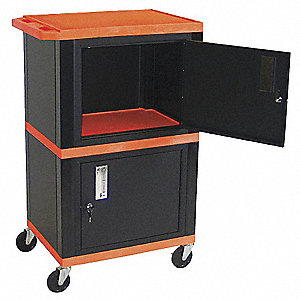 Audio-Visual Cart,200 lb.,Orange
