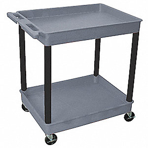 Thermoplastic Resin Flat Handle Utility Cart, 300 lb. Load Capacity, Number of Shelves: 2