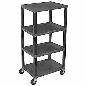 Thermoplastic Resin Utility Cart, 400 lb. Load Capacity, Number of Shelves: 4