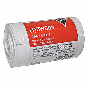 13 gal. LLDPE Extra Heavy Trash Bags, Coreless Roll, White, 50PK