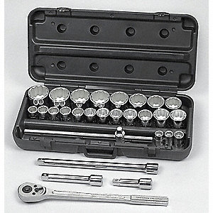 "3/4"" SAE Chrome Socket Set, Number of Pieces: 28"