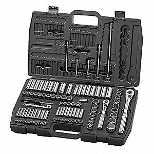 "1/4"", 3/8"", 1/2"" SAE and Metric Chrome Socket Set, Number of Pieces: 99"