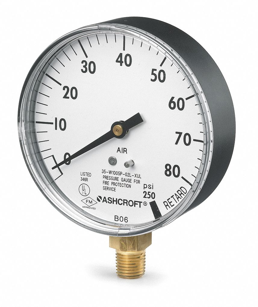 Pressure Gauge,  0 to 80 psi Range,  1/4 in MNPT,  +/-3-2-3% Gauge Accuracy