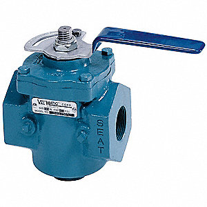 Plug Valve,1/2 In,Lever Operated,CI