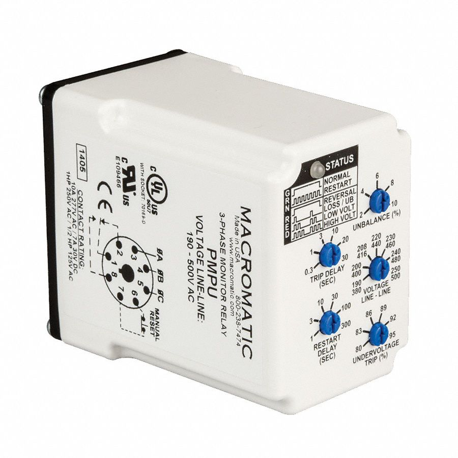 Phase Monitor Relay,190-500VAC,Plug,SPDT