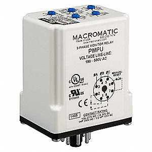 Phase Monitor Relay, 190 to 500VAC Input Voltage, Contact Form: SPDT, Base Type: Octal