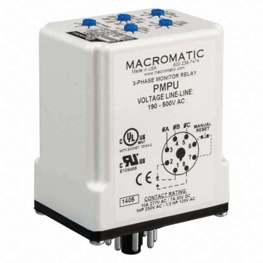 Phase Monitor Relay, 190 to 500V AC, 10A @ 277V, 7A @ 30V, 8 Pins, SPDT