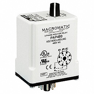 Phase Monitor Relay, 480VAC Input Voltage, Contact Form: SPDT, Base Type: Octal