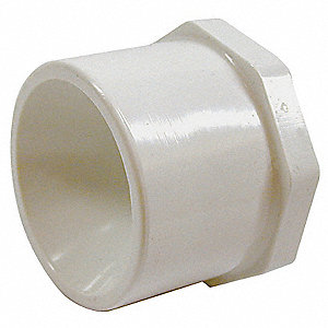 "PVC Reducing Bushing, Spigot x FNPT, 1-1/2"" x 3/4"" Pipe Size"