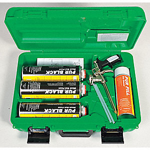 Multipurpose/Construction Insulating Spray Foam Sealant Kit, Kit Green Case Kit, Black