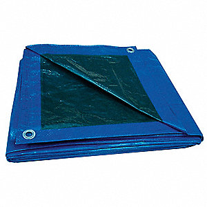 "5.1 mil Polyethylene Waterproof Tarp, Blue/Green, 11 ft. 4"" x 24 ft. 4"" Finished Size"