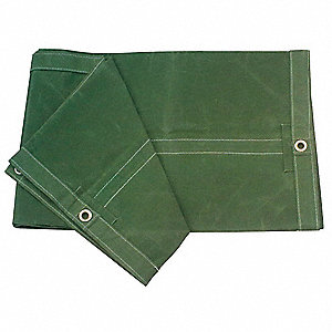 Cotton Canvas Tarp, Resists UV Rays, Water, Mildew, 15 x 20 ft. Cut Size, 30 mil, Olive Green