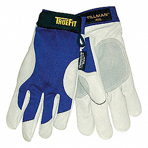Cold Protection Gloves, Thinsulate Lining, Shirred Cuff, Blue/Pearl Gray, M, PR 1